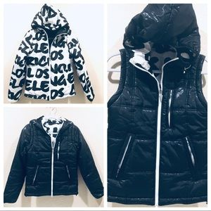 JoyRich Black Puffer Reversible jacket vest small
